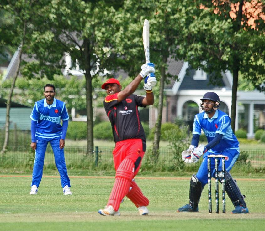 Mudassar Muhammad hits a massive six to bring Germany victory over France at the ICC Europe Division 1 Tournament in Voorburg, The Netherlands