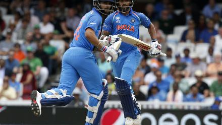 Shikhar Dhawan combined with Virat Kohli for a second wicket partnership of 128 runs.
