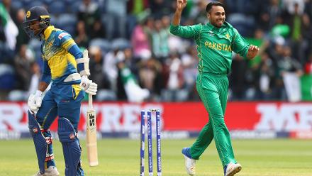 Fahim Ashraf celebrates after Dinesh Chandimal is out for a duck