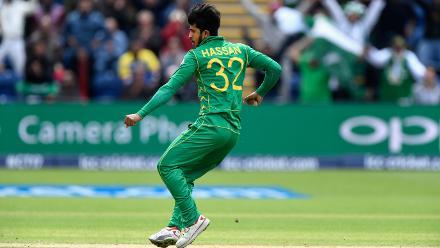 Hasan Ali celebrates after dismissing Kusal Mendis for 27