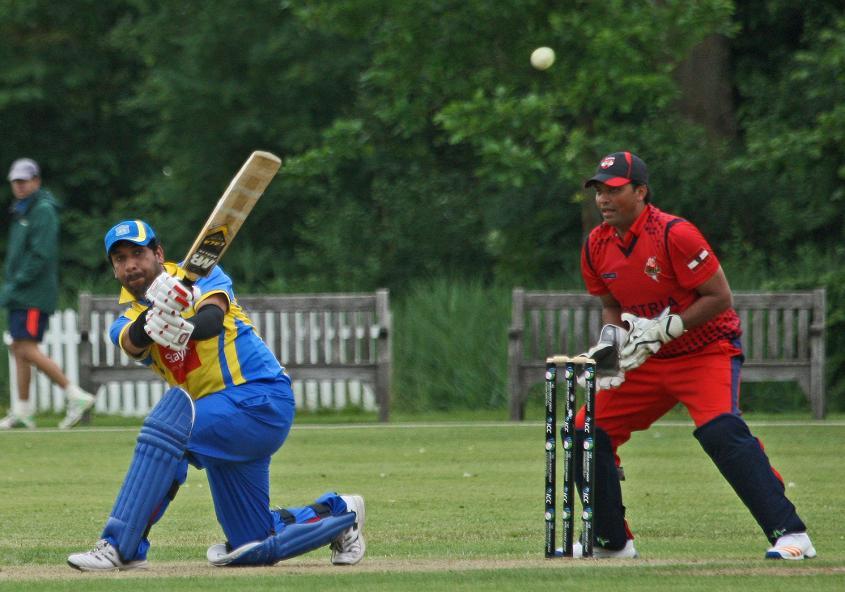 Usman Arif pulls for a boundary for Sweden during their match v Austria