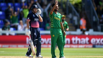 Rumman Raees, who was handed a debut today, straightaway got into the act as he picked up the crucial wicket of Alex Hales for 13.