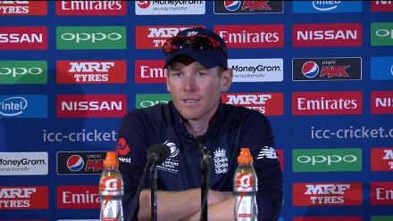Eoin Morgan reacts to England's Champions Trophy semi-final defeat