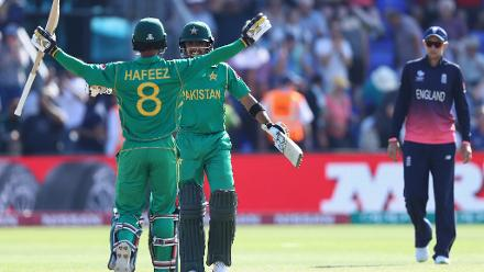 Mohammad Hafeez (31) and Babar Azam (38), hwever ensured that there were no further hiccups as Pakistan romped home in 37.1 overs to book a place in the final of Champions trophy 2017.