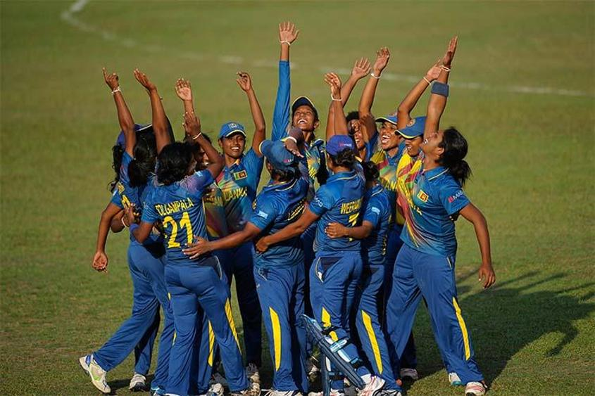 Sri Lanka Women celebrating their win over Pakistan Women in the Women's World Cup Qualifier