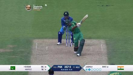 WICKET:  Babar Azam is dismissed by Kedar Jadhav for 46
