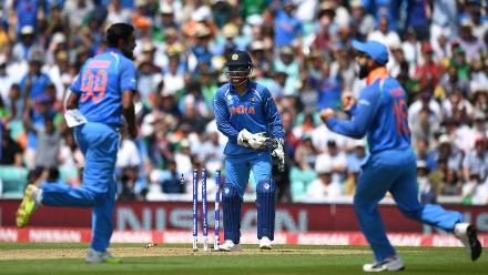 India got its first wicket courtesy a mix-up between Azhar and Zaman, which led to the former being run-out for a compact 71-ball 59.