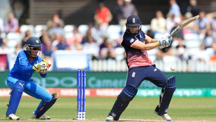 Heather Knight scored a gutsy 46 to help England rebuild but was run out.