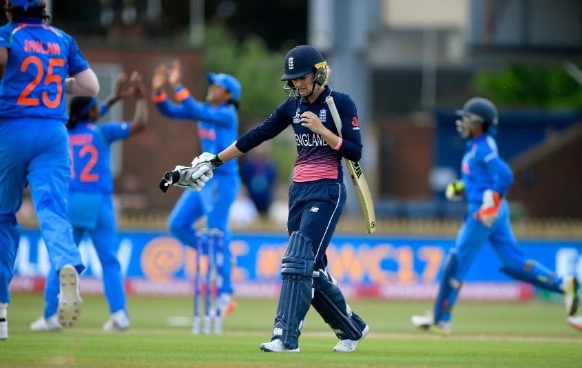 Sarah Taylor showed some fight, but became Shikha Pandey's second wicket for 22, leaving England at 42 for 2.