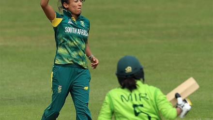 Shabnim Ismail celebrates after taking the wicket of Sana Mir