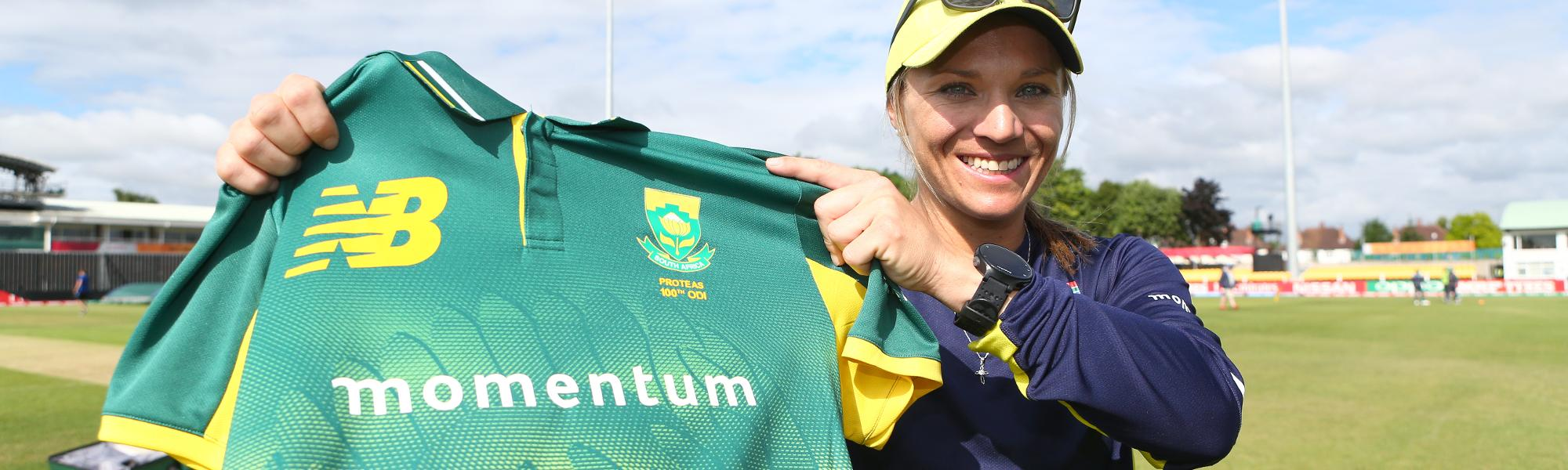 Mignon du Preez celebrates her 100th ODI.