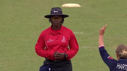 WICKET: Asmavia Iqbal is dismissed by Alex Hartley for 5