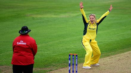 Kristen Beams of Australia appeals during the ICC Women's World Cup 2017 match between Sri Lanka and Australia.