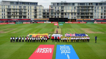 The teams line up for the national anthems during the ICC Women's World Cup 2017 match between Sri Lanka and Australia.
