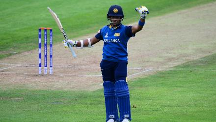 Chamari Athapaththu of Sri Lanka celebrates her half century during the ICC Women's World Cup 2017 match between Sri Lanka and Australia.