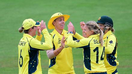 Kristen Beams celebrates the wicket of Dilani Manodara during the ICC Women's World Cup 2017 match between Sri Lanka and Australia.