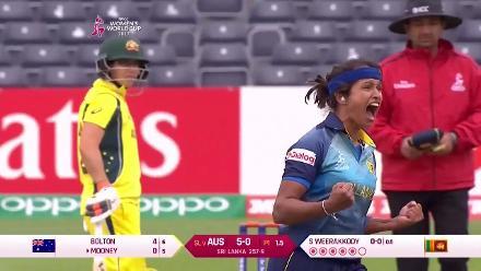WICKET: Beth Mooney falls to Sripali Weerakkody for a duck