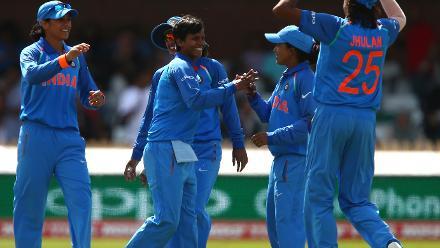 Deepti Sharma of India celebrates taking the wicket of Seda Nain Fatima Abidi of Pakistan during the ICC Women's World Cup match between India and Pakistan