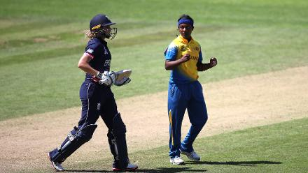 Ama Kanchana of Sri Lanka celebrates the wicket of Lauren Winfield of England during The Women's World Cup 2017 match between England and Sri Lanka