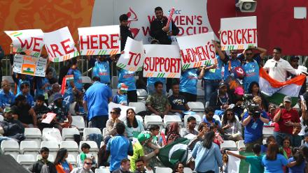 India fans during the ICC Women's World Cup match between India and Pakistan.