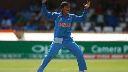 Deepti Sharma of India celebrates taking the wicket of Seda Nain Fatima Abidi of Pakistan.