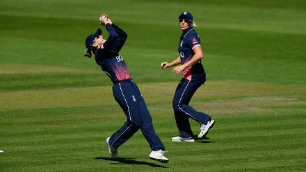 Fran Wilson takes a catch to dismiss Sri Lanka batsman Nipuni Hansika.