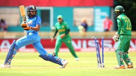 Jhulan Goswami of India is bowled by Nashra Sandhu of Pakistan.