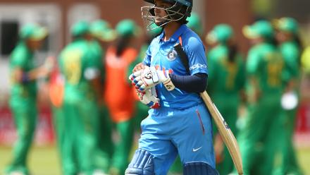 Punam Raut of India reacts after losing her wicket to Nashra Sandhu.