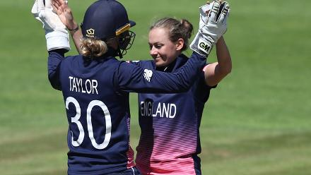 Laura Marsh and Sarah Taylor of England celebrate the wicket of Harshitha Madhavi of Sri Lanka
