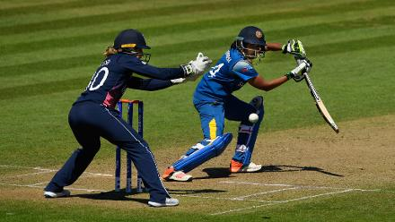 Shashikala Siriwardena guides an outside off delivery towards the third man region.