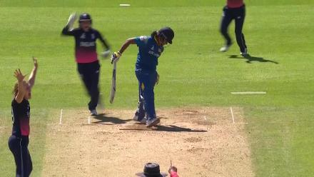 WICKET: Chamari Atapattu falls to Natalie Sciver for 1