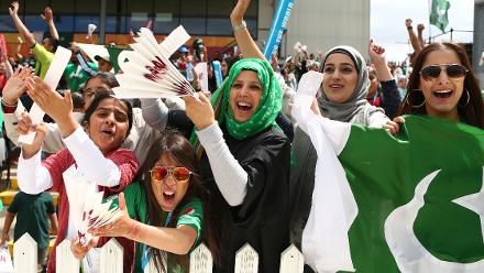 Pakistan fans celebrate a wicket during the ICC Women's World Cup match between India and Pakistan.