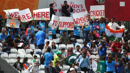 India fans during the ICC Women's World Cup match between India and Pakistan at The 3aaa County Ground on July 2, 2017 in Derby, England