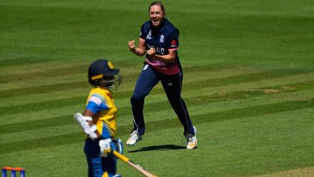 Laura Marsh celebartes after dismissing Sri Lanka batsman Hasini Perera.