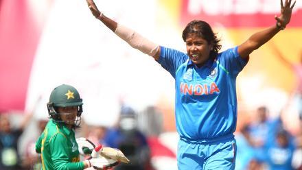 Jhulan Goswami of India celebrates taking the wicket of Javeria Wadwood of Pakistan.