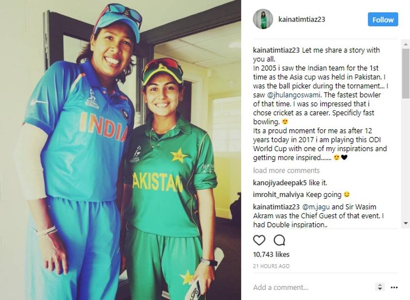 Kainat Imtiaz cited Jhulan Goswami one of her inspirations to take up the game, particularly the discipline of fast bowling.