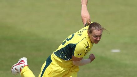 Sarah Aley of Australia bowls during The ICC Women's World Cup 2017 match between Pakistan and Australia