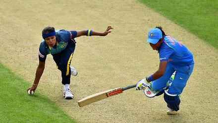 Weerakkody attempts to run out Harmanpreet Kaur