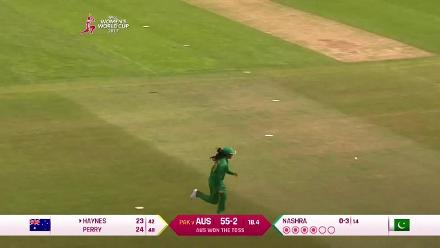 WICKET: Rachel Haynes falls to Sana Mir for 28