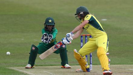 Sidra Nawaz of Pakistan looks on Ellyse Perry of Australia bats during The ICC Women's World Cup 2017 match between Pakistan and Australia