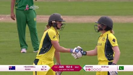 FIFTY: Ellyse Perry brings up her half-century for Australia