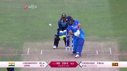 WICKET: Sripali Weerakkody takes two in two with the dismissals of Harmanpreet Kaur and Veda Krishnamurthy