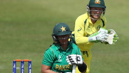 Alyssa Healy of Australia celebrates the wicket of Marina Iqbal