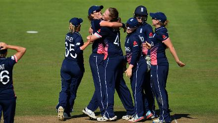 Anya Shrubsole of England celebrates the wicket of Laura Wolvaardt of South Africa.