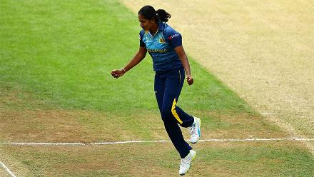 Ranaweera celebrates the dismissal of Mithali Raj