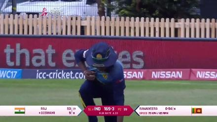 WICKET: Inoka Ranaweera dismisses Jhulan Goswami cheaply