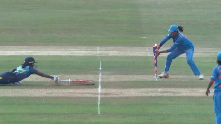 WICKET: Ama Kanchana is run out by Harmanpreet Kaur
