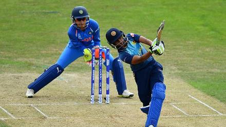 Shashikala Siriwardena plays a shot during her innings