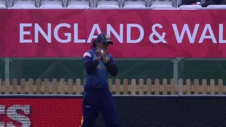 WICKET: Ama Kanchana takes the big wicket of Deepti Sharma