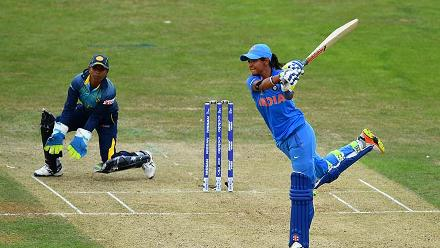 Harmanpreet Kaur plays a shot during her brief innings of 20